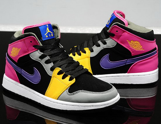 Womens Air Jordan Retro 1 Pink Black Grey Yellow Low Price