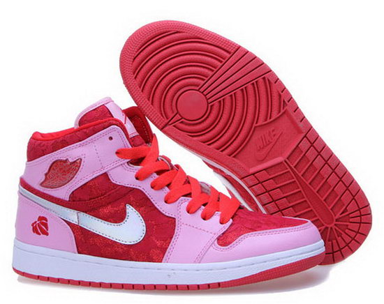 Womens Air Jordan Retro 1 Pink Red White Sweden