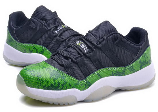Womens Air Jordan Retro 11 Low Black Green Python Review