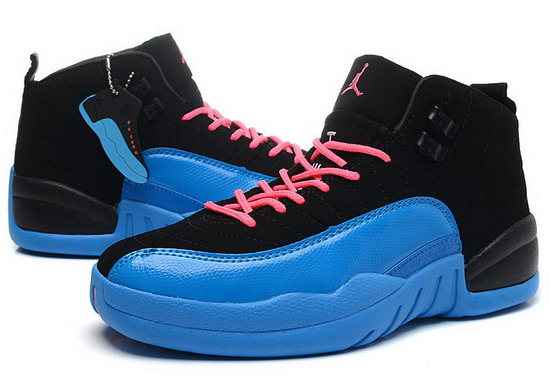 Womens Air Jordan Retro 12 Black Deep Royal Blue Clearance