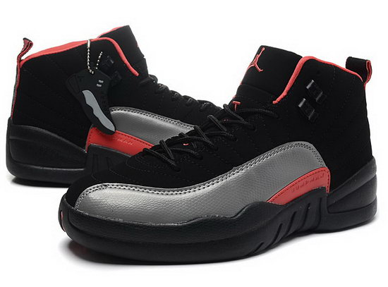 Womens Air Jordan Retro 12 Black Grey Red Closeout