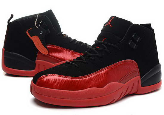 Womens Air Jordan Retro 12 Black Red Low Cost