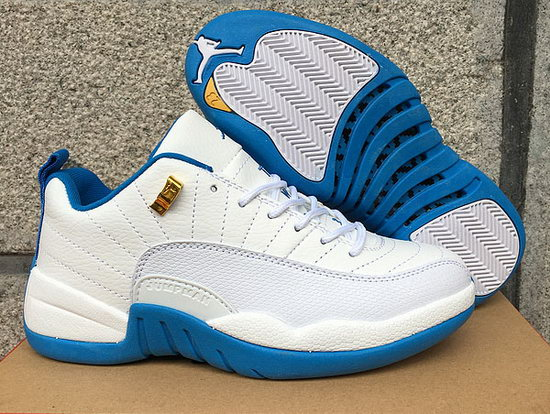 Womens Air Jordan Retro 12 Low White Blue Outlet