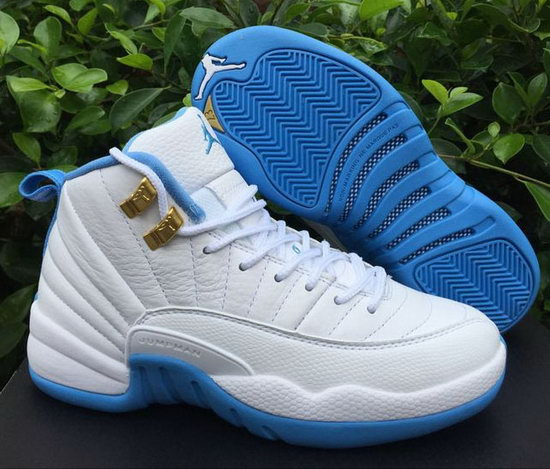 Womens Air Jordan Retro 12 White Blue Factory Store