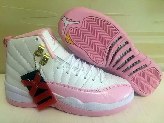 Womens Air Jordan Retro 12 White Light Pink Reduced