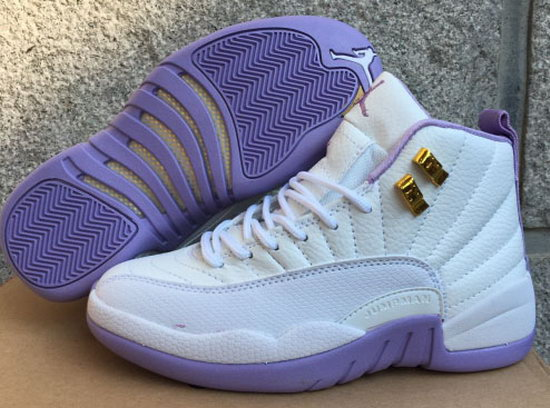 Womens Air Jordan Retro 12 White Light Purple Online