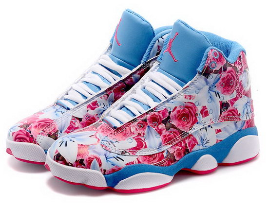 Womens Air Jordan Retro 13 Blue Rose Flower Ireland