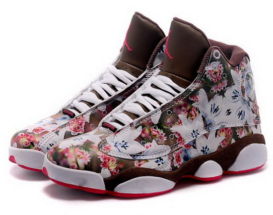 Womens Air Jordan Retro 13 Brown Rose Flower Greece