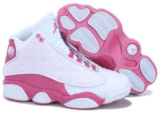 Womens Air Jordan Retro 13 White Pink Factory Outlet