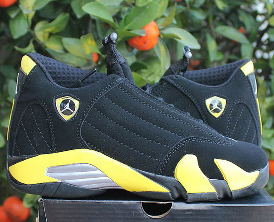 Womens Air Jordan Retro 14 Black Yellow Closeout