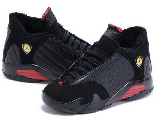 Womens Air Jordan Retro 14 Velvet Black Red Outlet