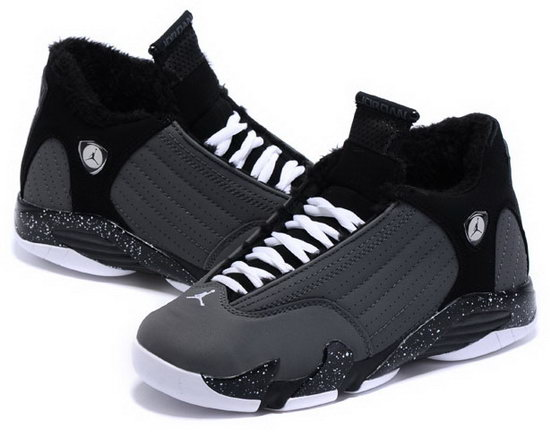 Womens Air Jordan Retro 14 Velvet Grey Black Discount