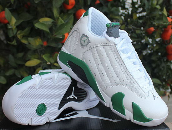 Womens Air Jordan Retro 14 White Green Factory Store