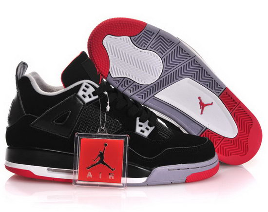 Womens Air Jordan Retro 4 Black Red Factory Outlet