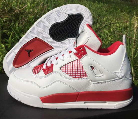 Womens Air Jordan Retro 4 White Red Outlet Store