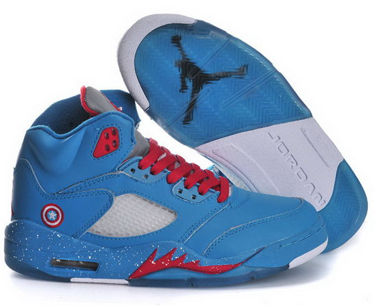 Womens Air Jordan Retro 5 Blue Red Factory Outlet