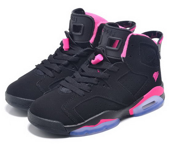 Womens Air Jordan Retro 6 Black Pink 2 Factory Outlet
