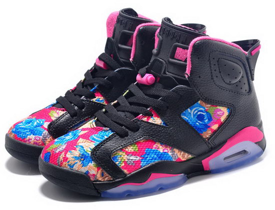 Womens Air Jordan Retro 6 Black Pink Flower Inexpensive