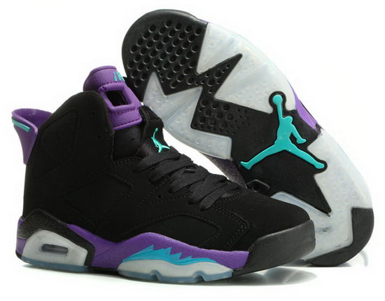 Womens Air Jordan Retro 6 Black Purple Jade Factory