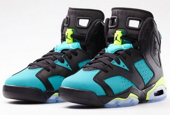 Womens Air Jordan Retro 6 Black Turbo Green Low Price