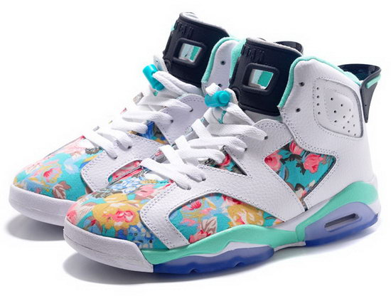 Womens Air Jordan Retro 6 White Jade Flower Outlet Store