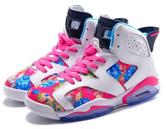 Womens Air Jordan Retro 6 White Pink Flower Australia