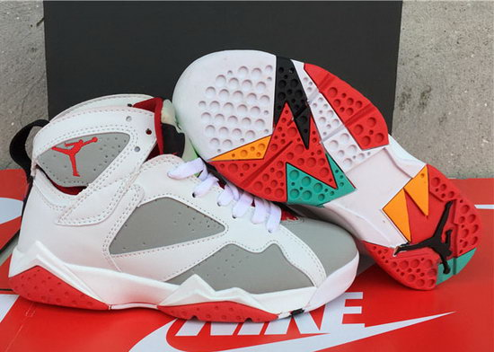 Womens Air Jordan Retro 7 White Grey Red Closeout