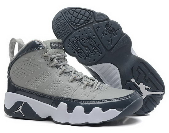 Womens Air Jordan Retro 9 Grey Dark Blue White Usa
