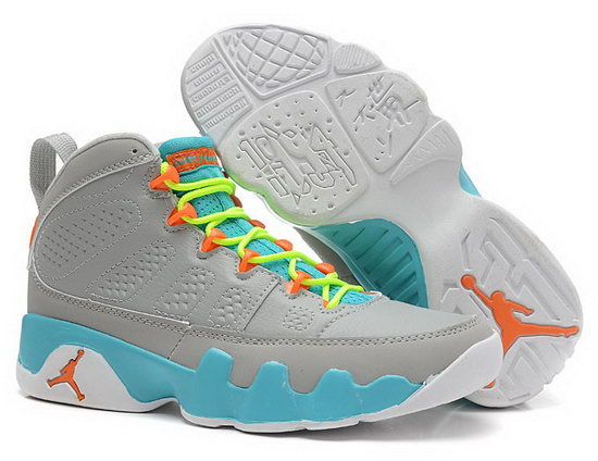 Womens Air Jordan Retro 9 Grey Jade Orange Promo Code