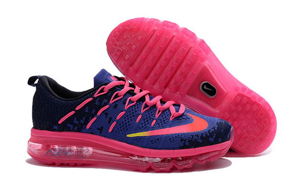 Womens Air Max 2016 Flyknit Pink Blue Black Shoes Reduced