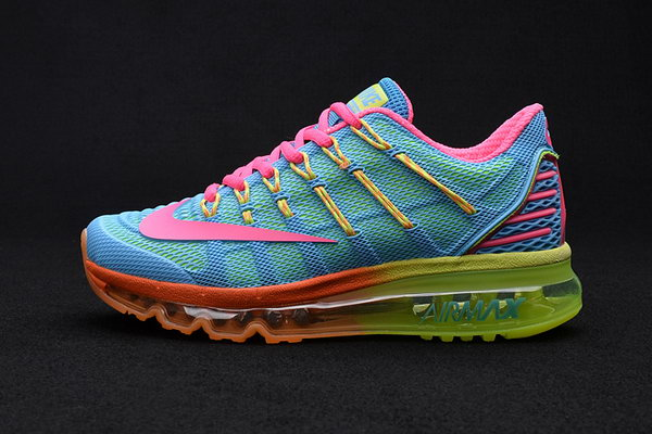 Womens Air Max 2016 Premium Blue Green Pink Yellow Factory
