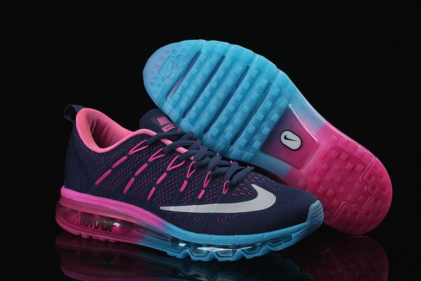Womens Cheap Nike Air Max 2016 Flyknit Black Blue Pink Korea