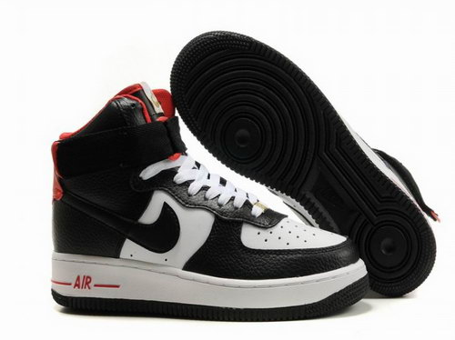 Womens Nike Air Force 1 25th High Classic Shoes Black White For Sale