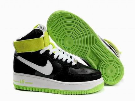 Womens Nike Air Force 1 25th High Shoes Black Green Promo Code