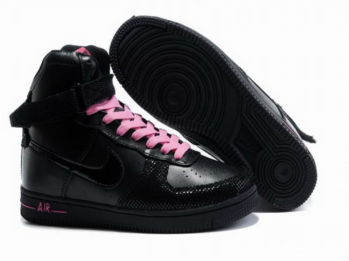 Womens Nike Air Force 1 25th High Shoes Black Closeout