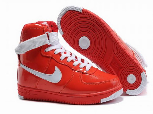 Womens Nike Air Force 1 25th High Shoes Red White Discount Code