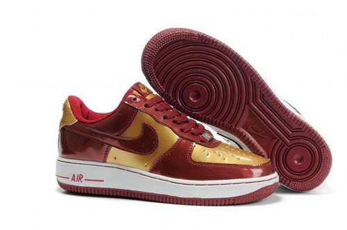 Womens Nike Air Force 1 25th Low Shoes Deep Red Gold Spain