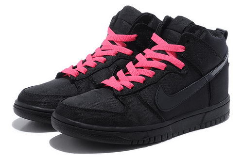 Womens Nike Dunk High Oxford Fabric - Black Pink Review