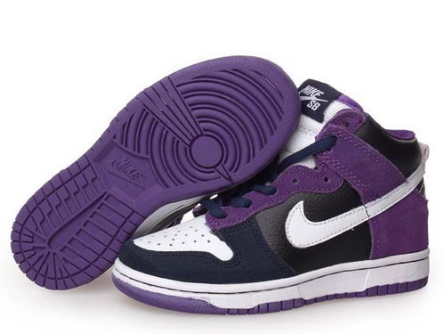 Womens Nike Dunk High Purple & Black & White Factory