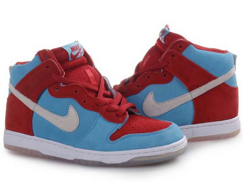 Womens Nike Dunk High Sky-blue & Red Italy