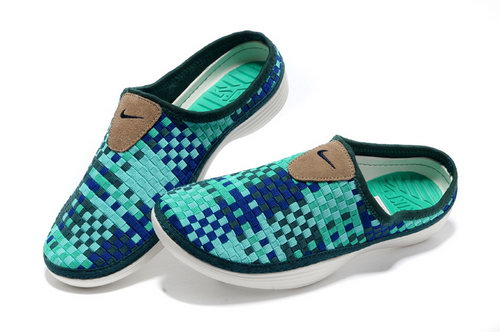Womens Nike Trainers Solarsoft Mule Woven Premium Sport Blue Navy Sandals Low Cost