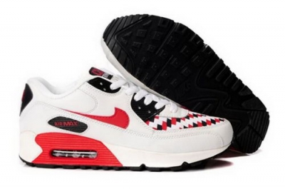 Nike Air Max 90 Mens Shoes White Black Varsity Red Netherlands