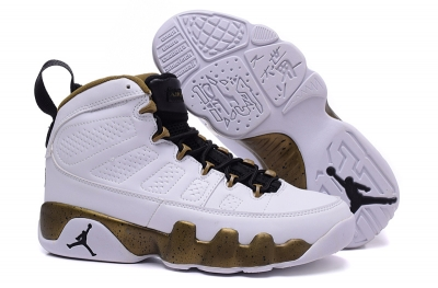 Mens & Womens (unisex) Air Jordan Retro 9 White Gold Black Germany