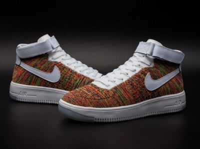Mens & Womens (unisex) Nike Air Force 1 Flyknit High Khaki Colorful Greece
