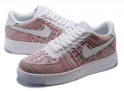 Womens Nike Air Force 1 Flyknit Low Pink White Italy