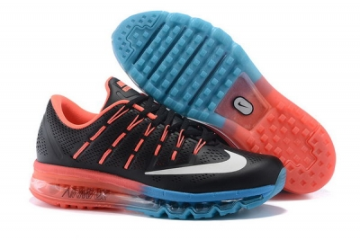Mens Cheap Air Max 2016 Leather Black Orange Blue Factory Outlet