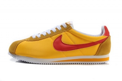 Nike Classic Cortez Nylon Mens Shoes Yellow Red Low Cost