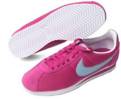 Nike Cortez Nylon Womens Shoes Rose Red Baby Blue Hot Online Store