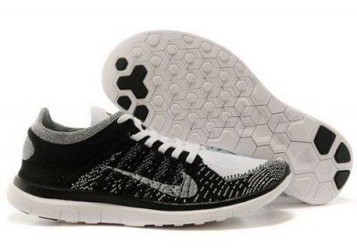 Nike Free Flyknit 4.0 Mens Shoes Black Gray White France