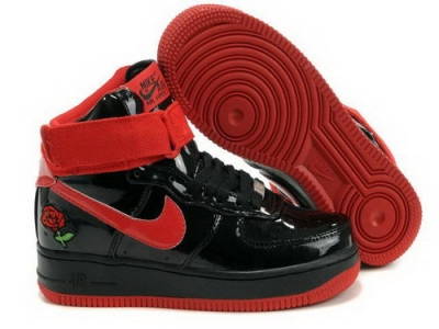 Womens Nike Air Force 1 25th High Shoes Black Red Clearance